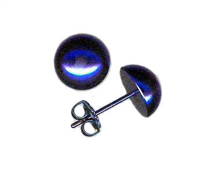 10mm titanium dome post earrings anodized blue