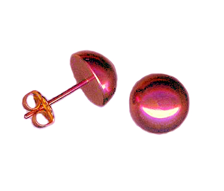 10mm titanium dome post earrings anodized pink
