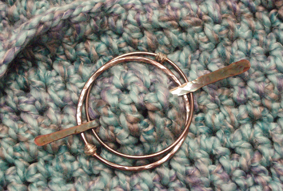 2 ring copper shawl pin by Two Iguanas Glass