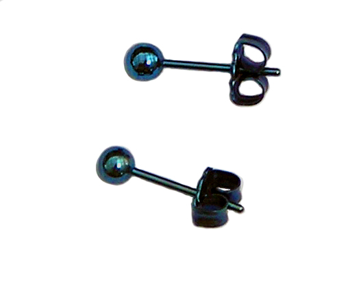 3.5mm anodized blue titanium ball post earrings