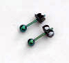 3.5mm titanium ball post earrings - anodized green