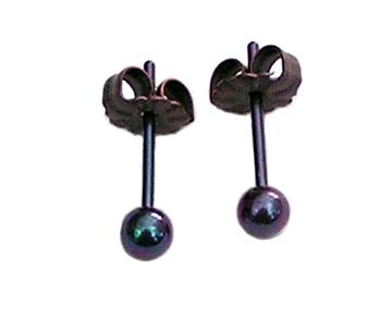 3.5mm violet ball post titanium earrings