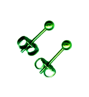 3mm titanium ball post earrings green