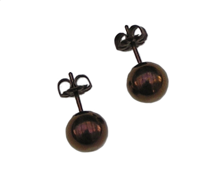 8mm titanium ball post earrings - anodized bronze