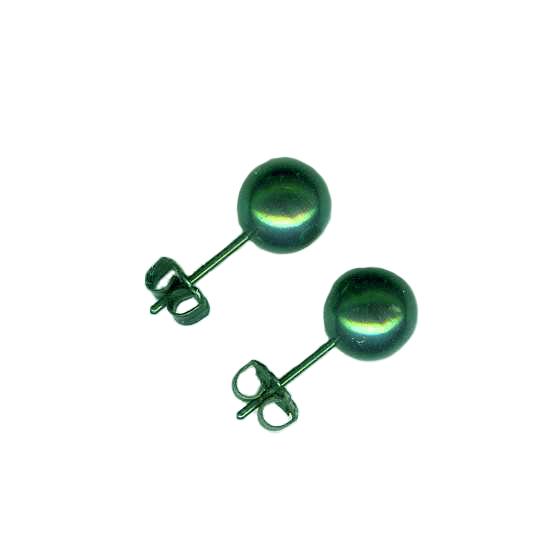 8mm titanium ball post earrings anodized green