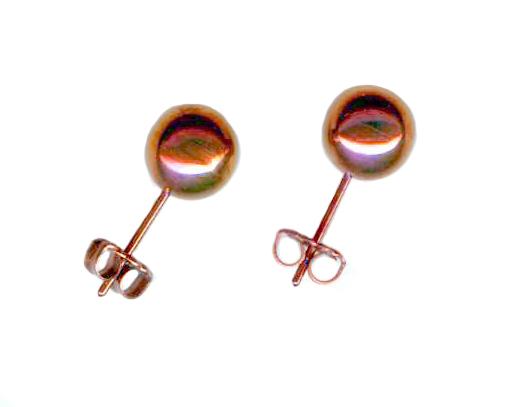 8mm titanium ball post earrings anodized peach