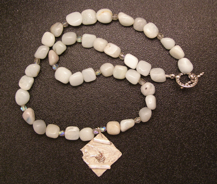 designer amazonite and sterling silver necklace