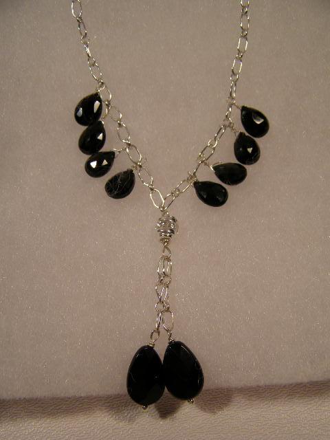 designer black onyx briolette necklace