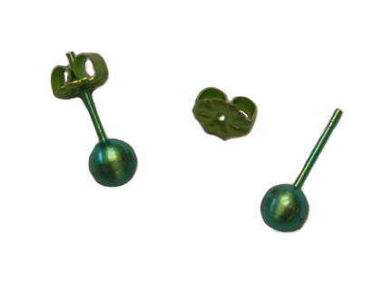 5mm anodized green titanium ball post earrings