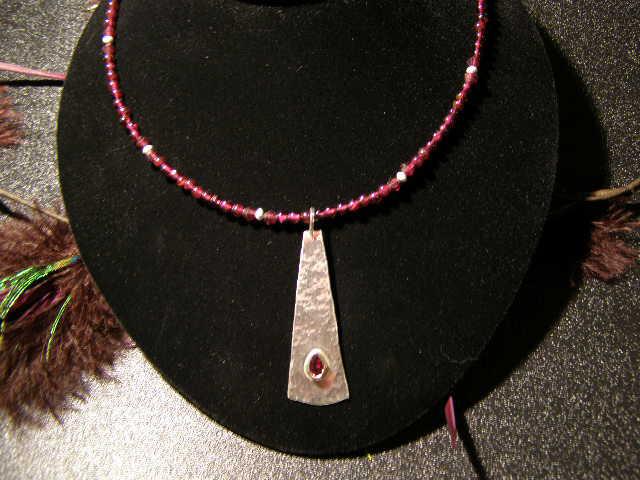 designer faceted garnet necklace