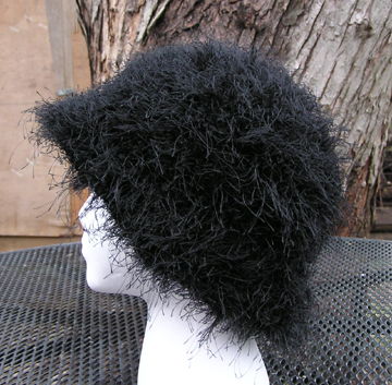 custom faux fur crochet hat side view