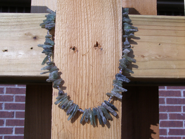 handcrafted designer kyanite chip necklace