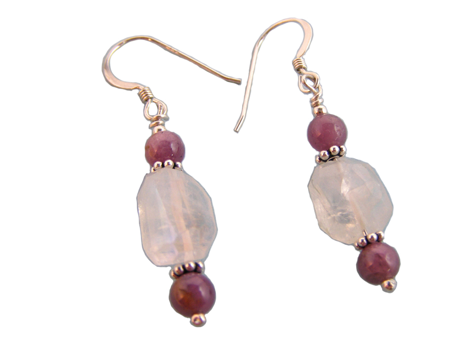 hypoallergenic moonstone and star ruby earrings