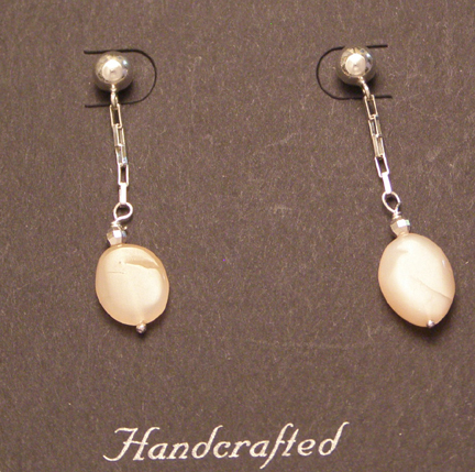 designer peach moonstone post earrings