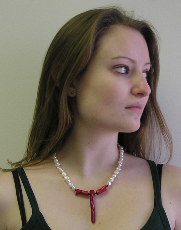 designer pearl and coral necklace