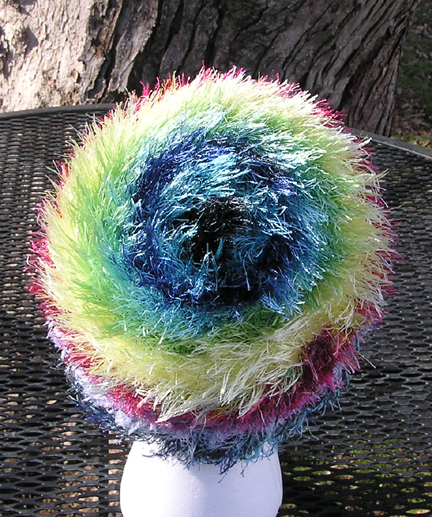 custom rainbow eyelash yarn crocheted hat back view