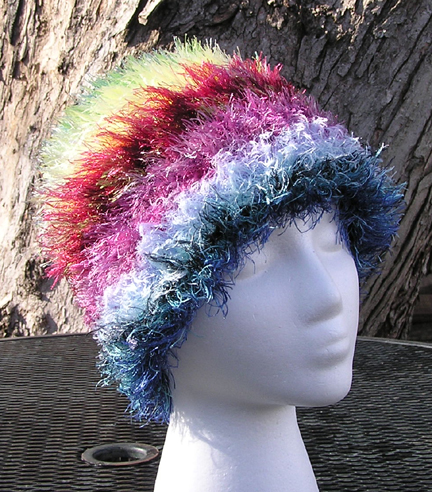 custom rainbow eyelash yarn crocheted hat front view