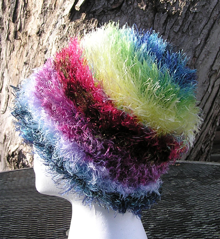custom rainbow eyelash yarn crocheted hat side view