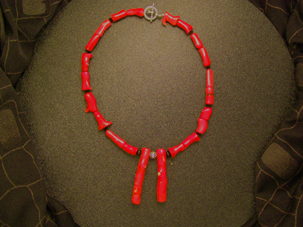 Handcrafted designer coral branch necklace
