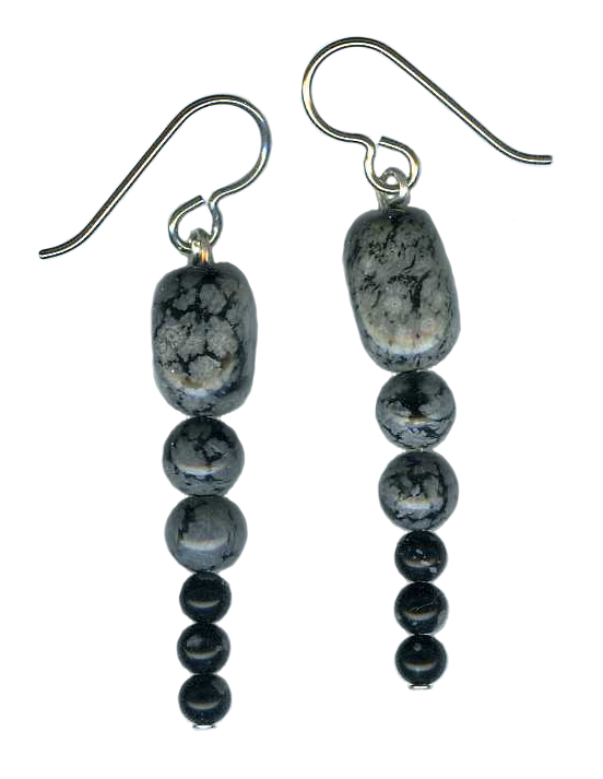 Snow Flake Obsidian  Hypoallergenic Earrings