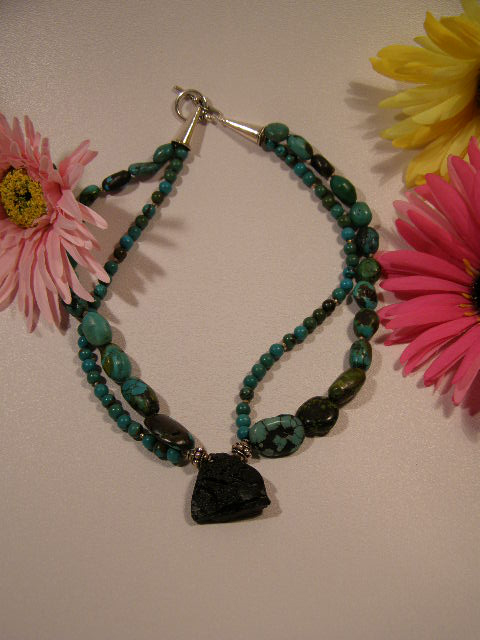 designer turquoise and tecktite necklace