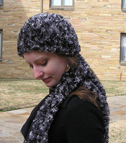 handmade designer faux fur crochet hat and scarf