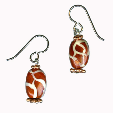 hypoallergenic handpainted glass beadl earrings