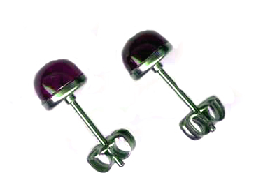 6mm amethyst titanium post earrings