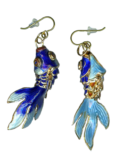 beta fish hypoallergenic dangle earrings