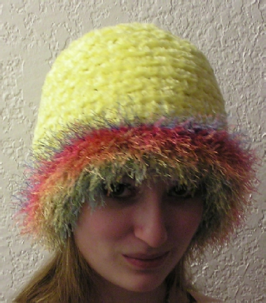chenille handcrafted crocheted hat