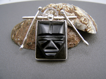 designer aztec man obsidian pendant
