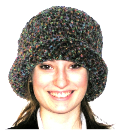 handcrafted chenille basic brim crocheted hat