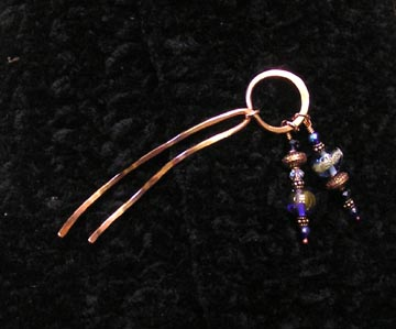 beaded copper shawl pin by Two Iguanas Glass