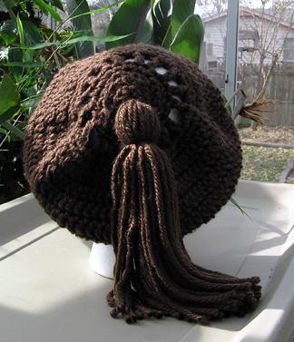 Custom Crochet Beret in brown view 2