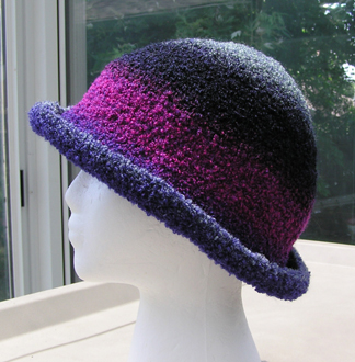 custom boucle yarn crocheted hat