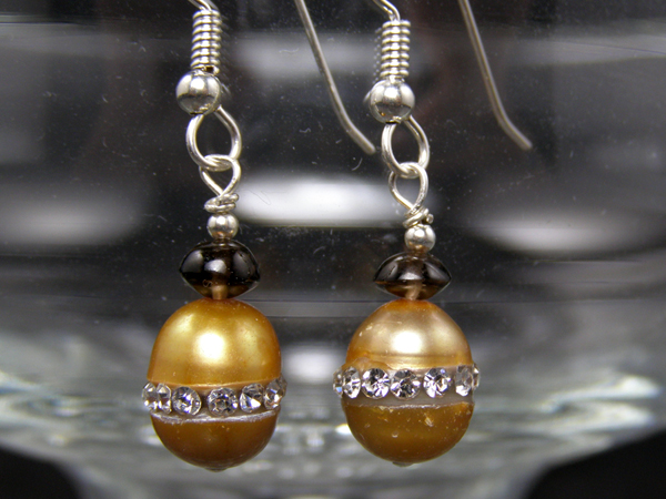 handcrafted hypoallergenic crystal inset pearl  earrings