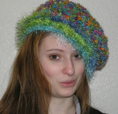 boucle and fun fur handcrafted crocheted hat