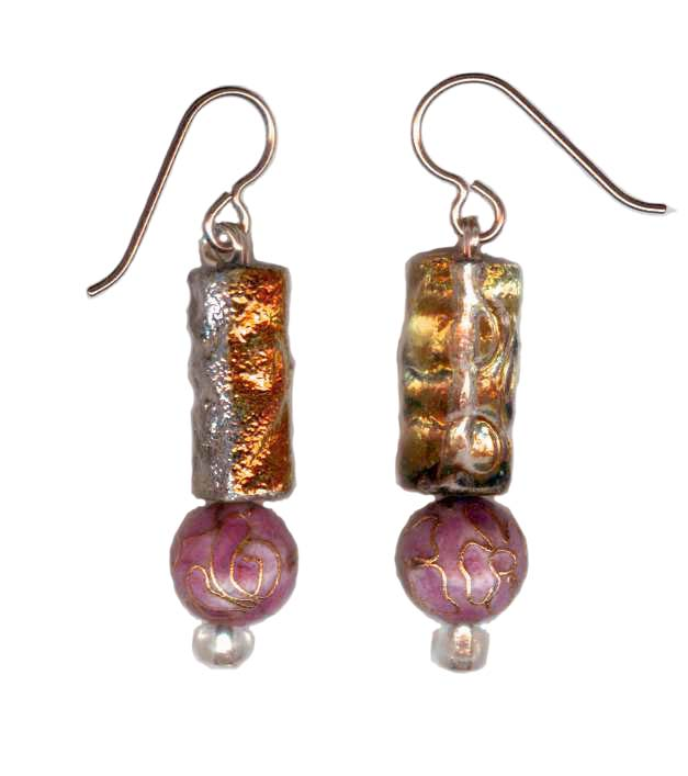 hypoallergenic czech glass and cloisonne Earrings