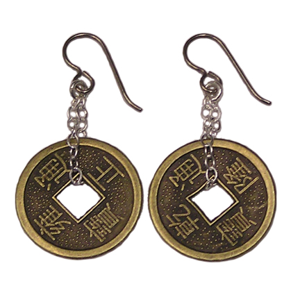 Hypoallergenic chi coin dangle earrings