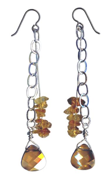 citrine and Swarovski briolette hypoallergenic dangle earrings