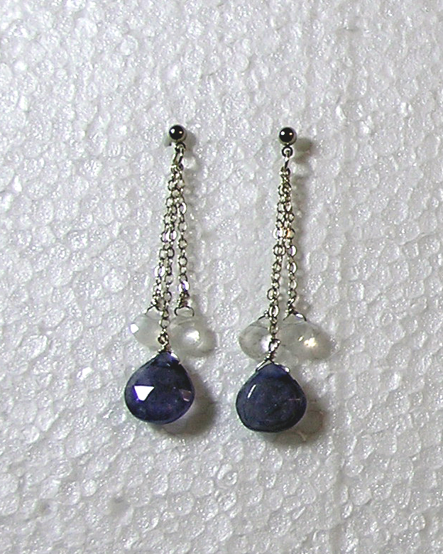 hypoallergenic sapphire and moonstone briolette earrings