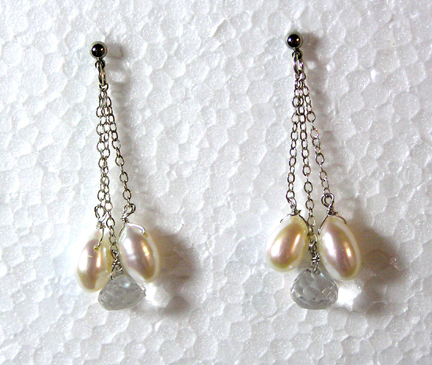 hypoallergenic pearl and quartz earrings