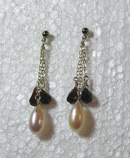 hypoallergenic pearl and garnet earrings