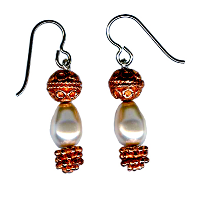 hypoallergenic copper and  pearl dangle earrings