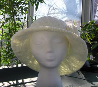 wide brim crochet hat with flower