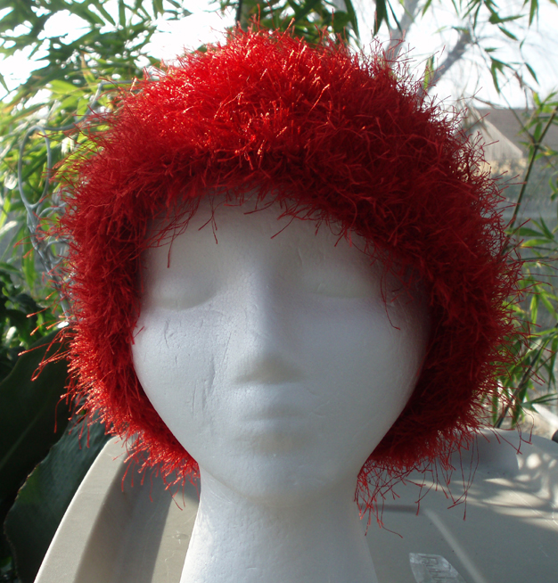 Crimson Wave Faux Fur Crochet Hat