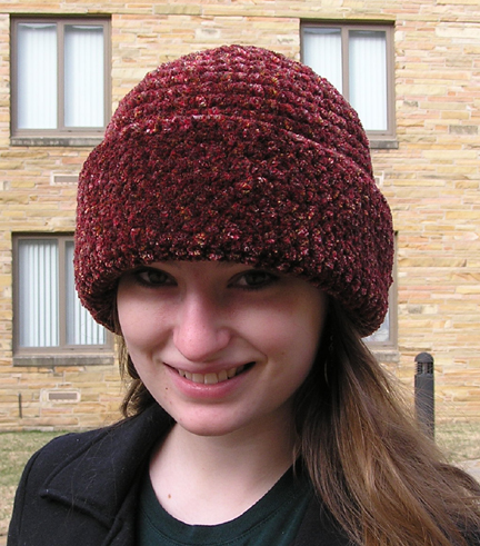 custom chenille basic brim crocheted hat