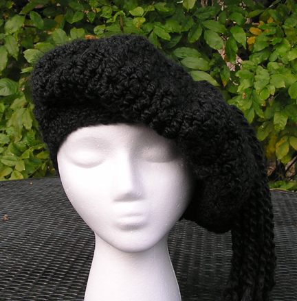 Custom Crochet Beret in black view 1