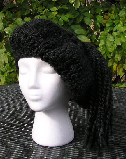 Custom Crochet Beret in black view 2