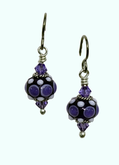 hypoallergenic handcrafted lampwork bead earrings